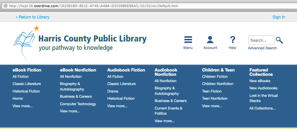 Harris County Library website screen shot